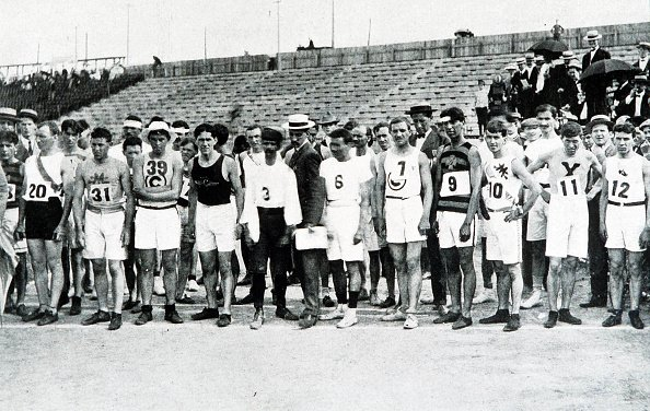 Olympic Games. St. Louis, USA. Marathon. Runners line up before the start of the race, which was won by USA's Thomas Hicks | Source: Getty Images