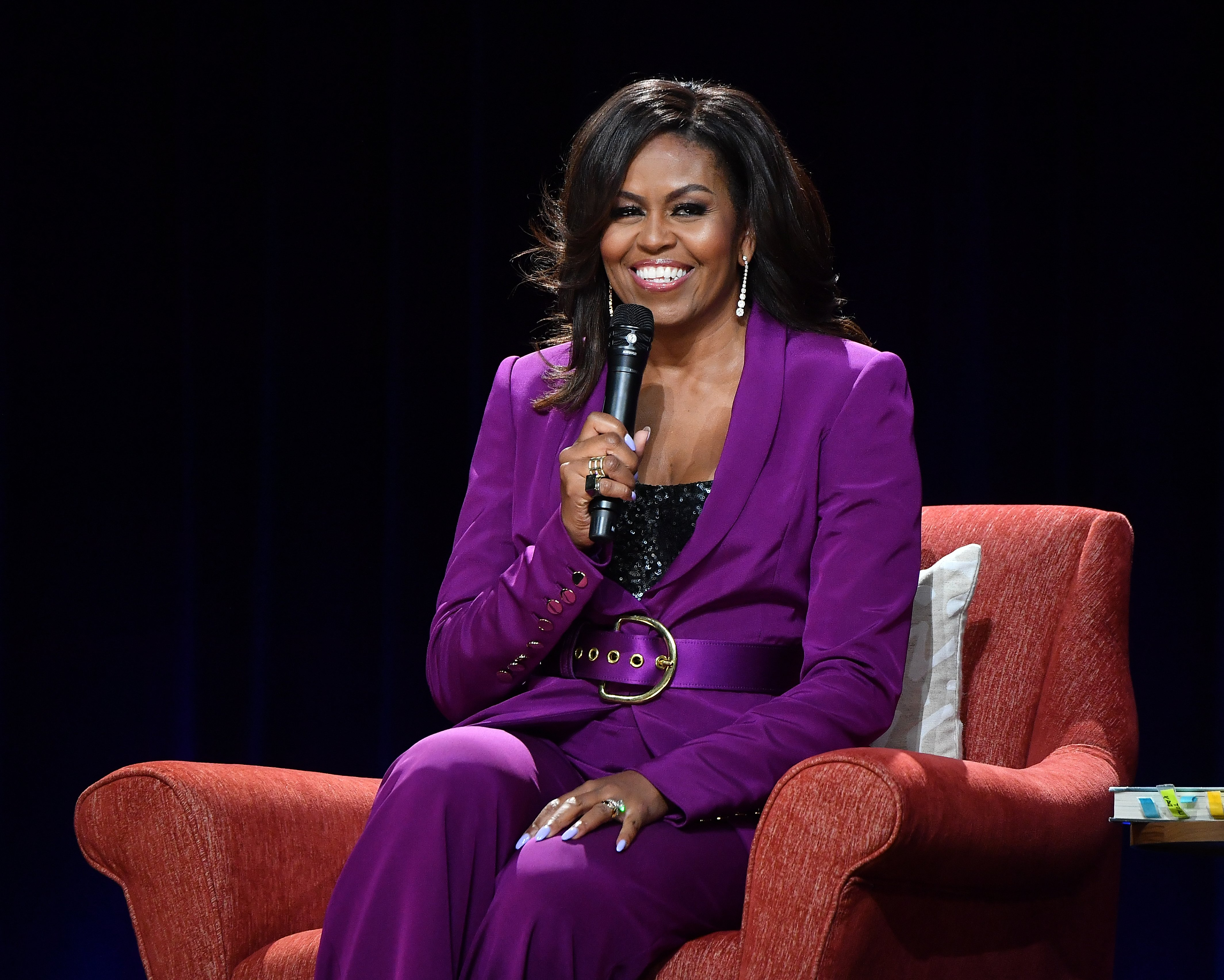 "Michelle Obama attends ""Becoming: An Intimate Conversation with Michelle Obama"" at State Farm Arena on May 11, 2019 in Atlanta, Georgia. 