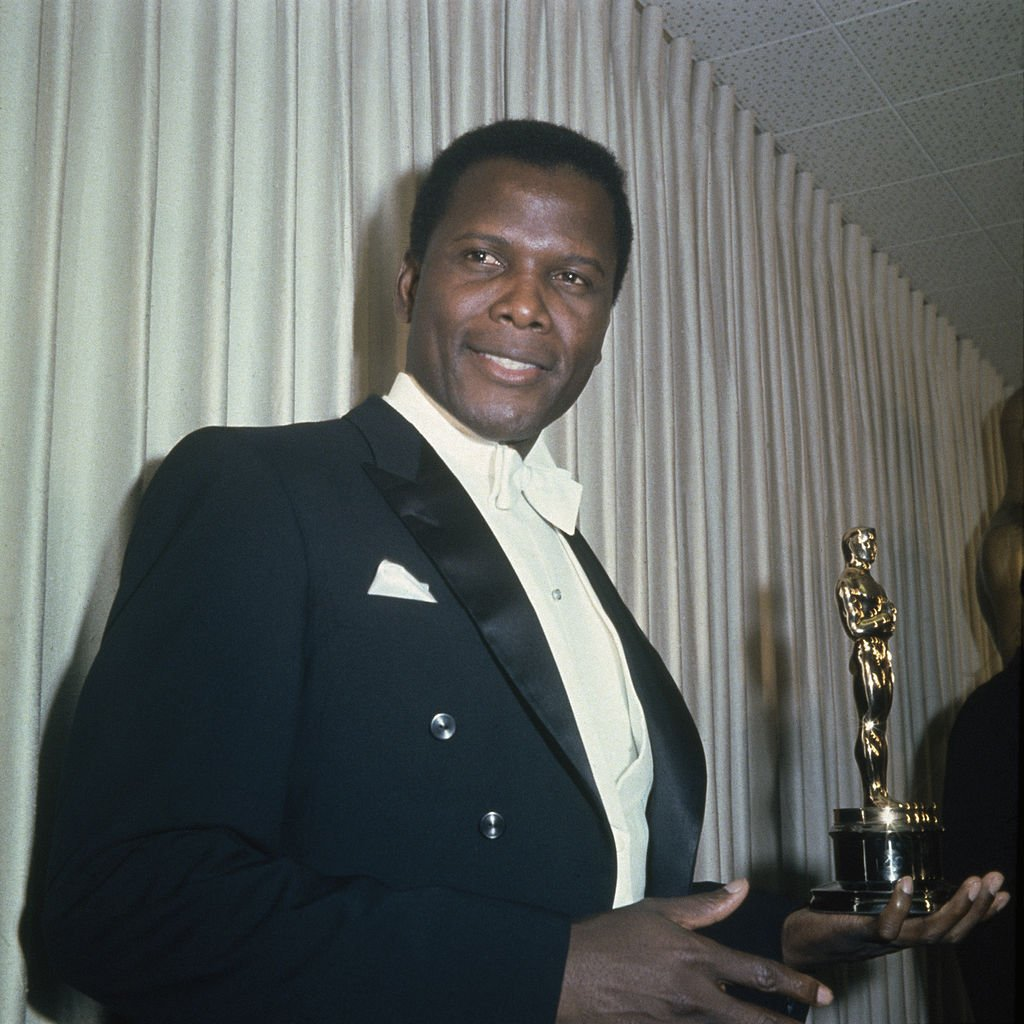 Sidney Poitier with his Academy Award for Best Actor in a Leading Role for 'Lilies of the Field,' in Santa Monica, California | Source: Getty Images