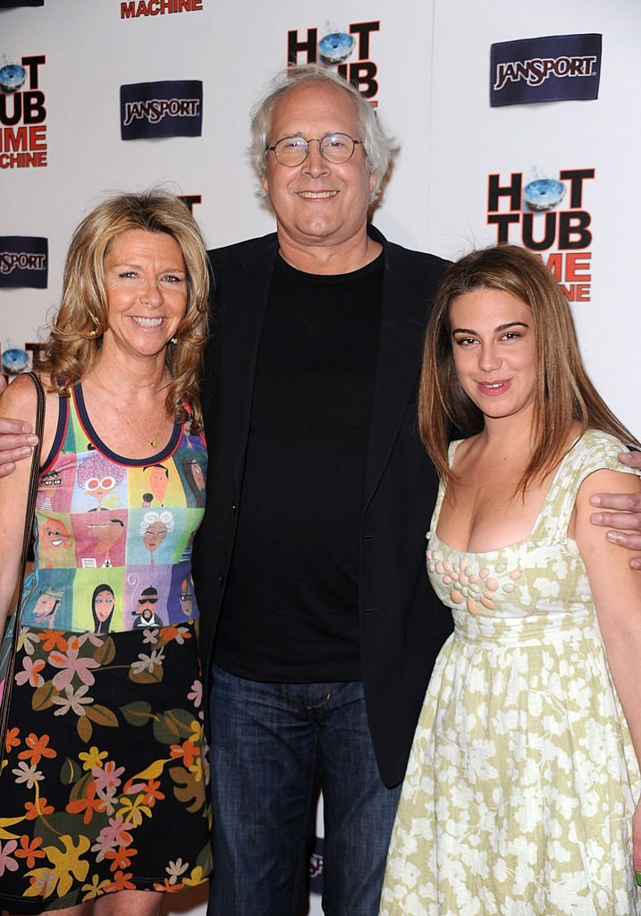 "Chevy Chase with wife Jayni Chase and daughter pose at the premiere of MGM & United Artisits' ""Hot Tub Time Machine""  