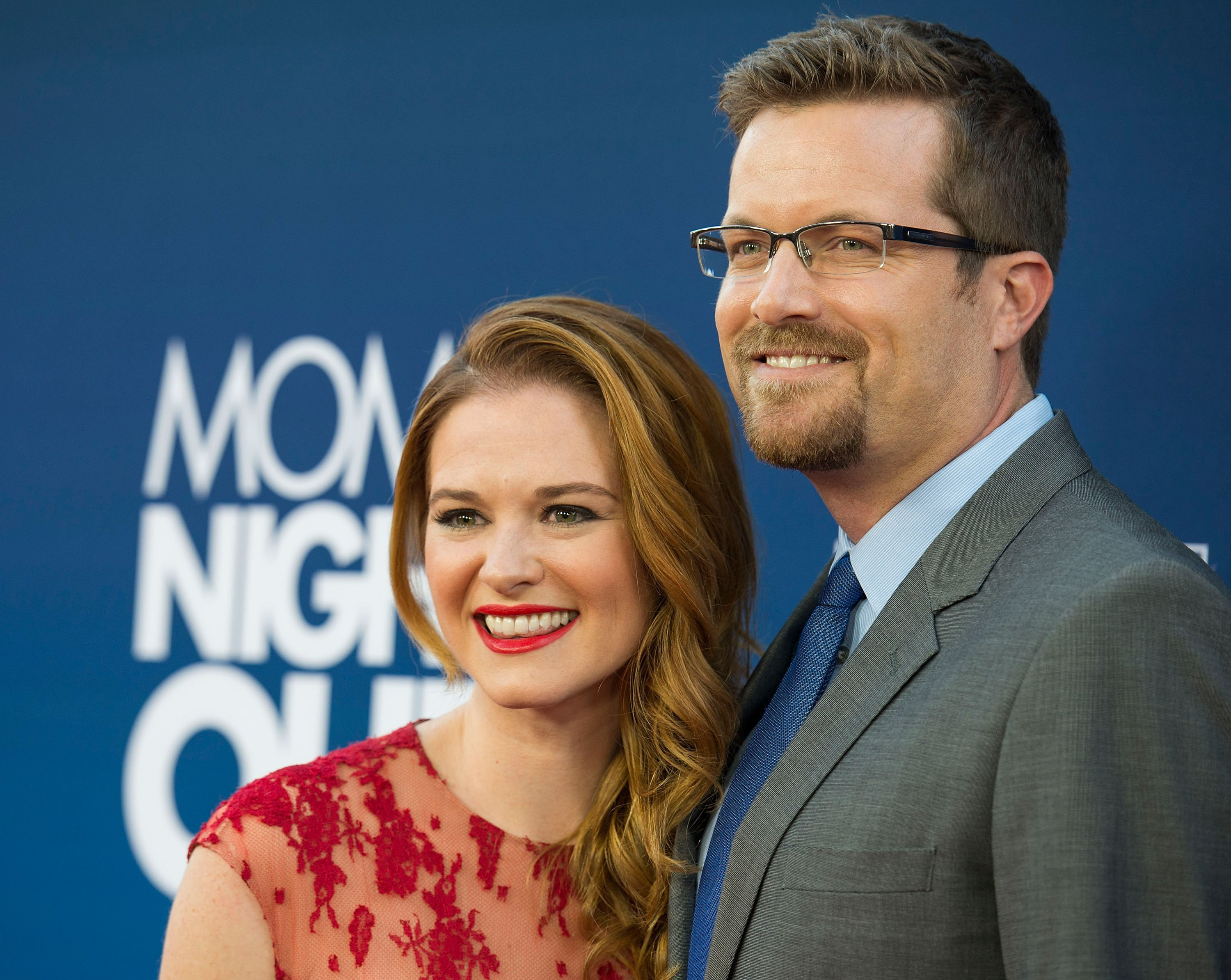 """Sarah Drew and Peter Lanfer arrive at the Premiere Of TriStar Picture's """"Mom's Night Out"""" at TCL Chinese Theatre IMAX on April 29, 2014, in Hollywood, California. 