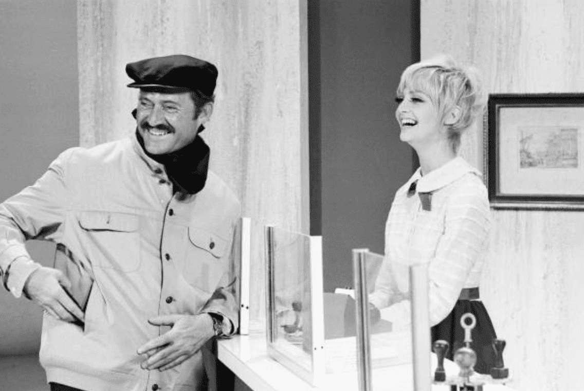 "Dan Rowan and Goldie Hawn behind the scenes for ""Laugh In"" 