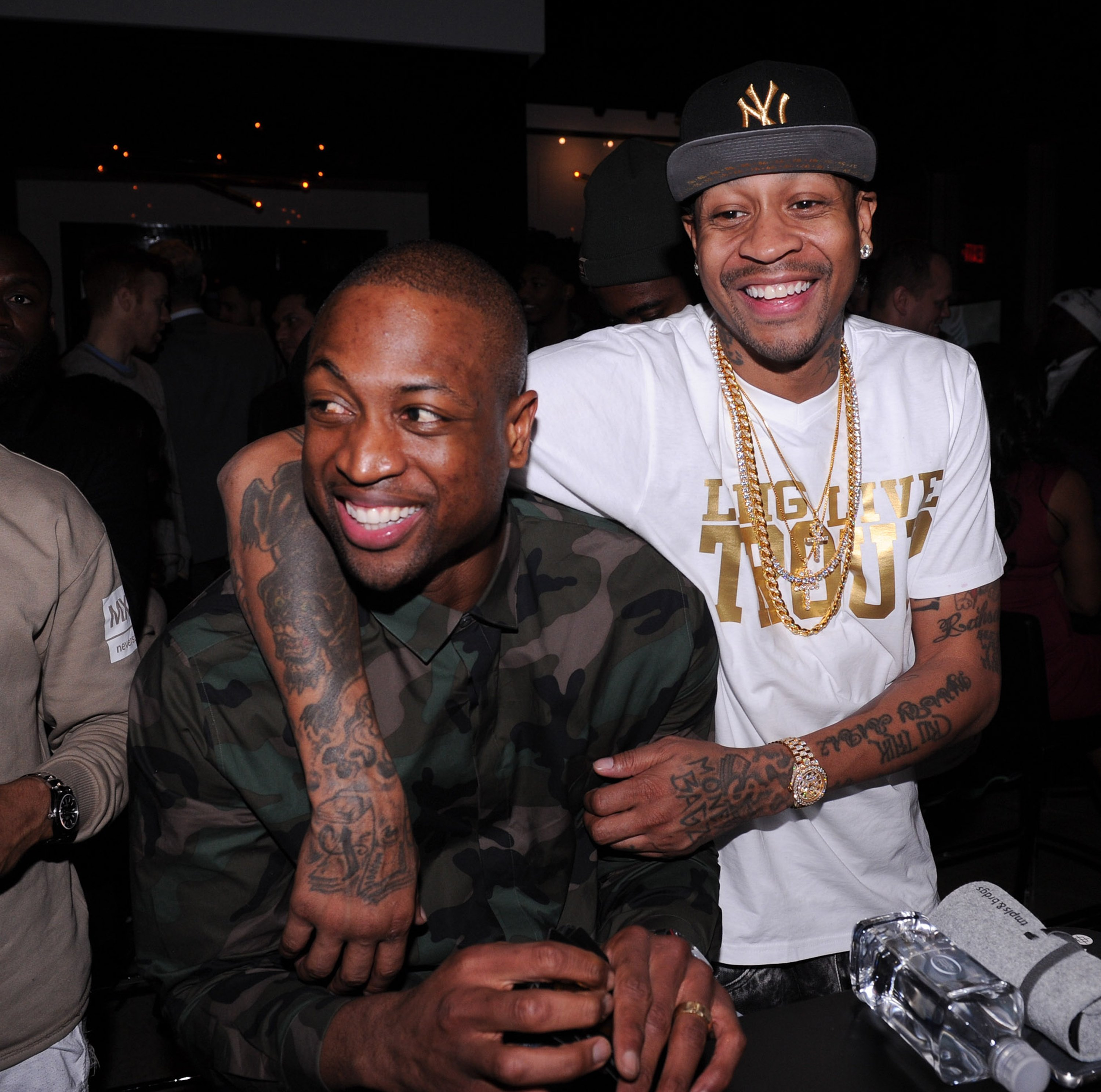 On-court rivals Dwyane Wade and Allen Iverson sharing a laugh during the former's Spade Tournament at The One Eighty in February 2016. | Photo: Getty Images