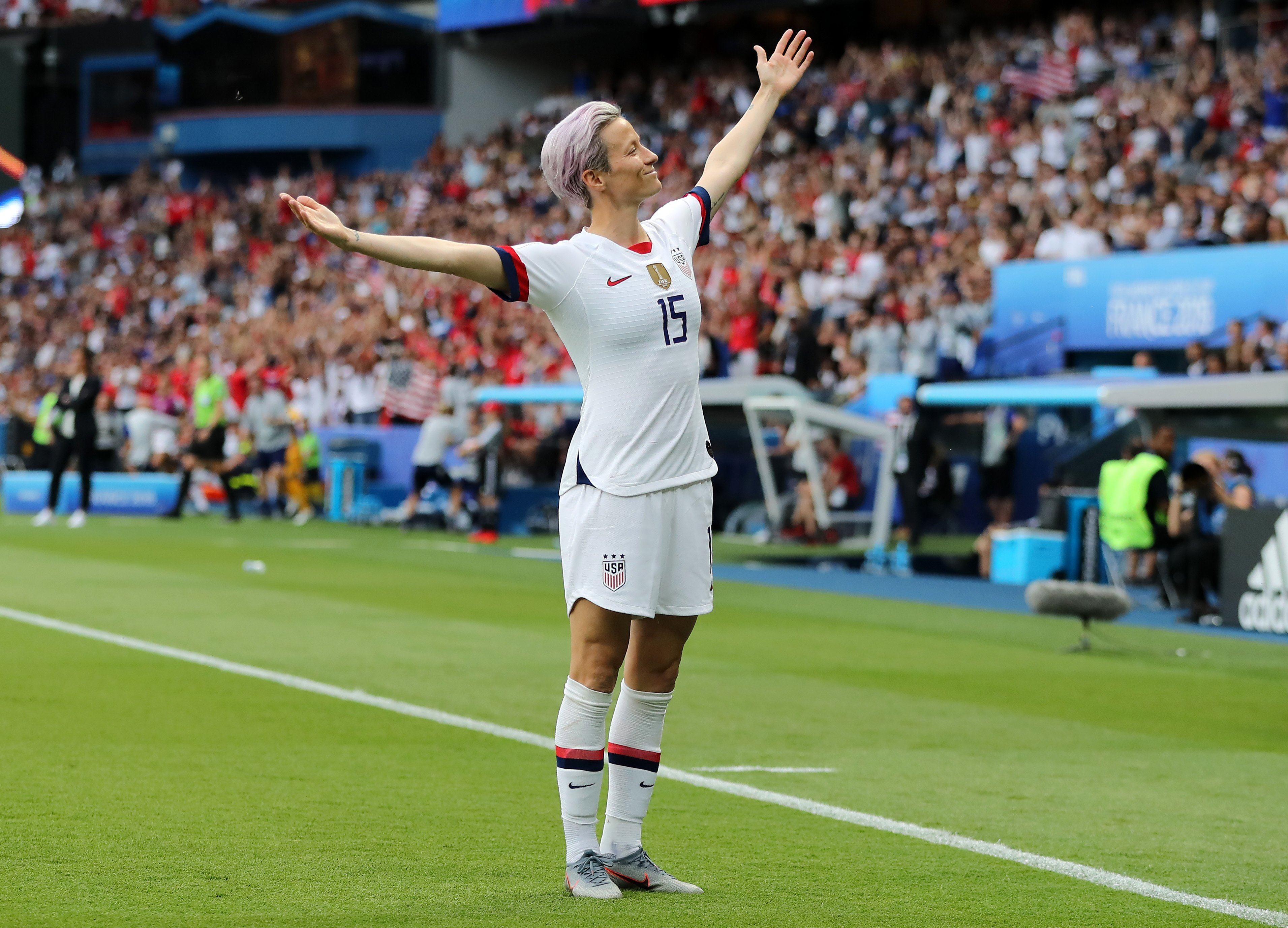 Megan Rapinoe celebrates a victory at the 2019 FIFA Women's World Cup   Photo: Getty Images