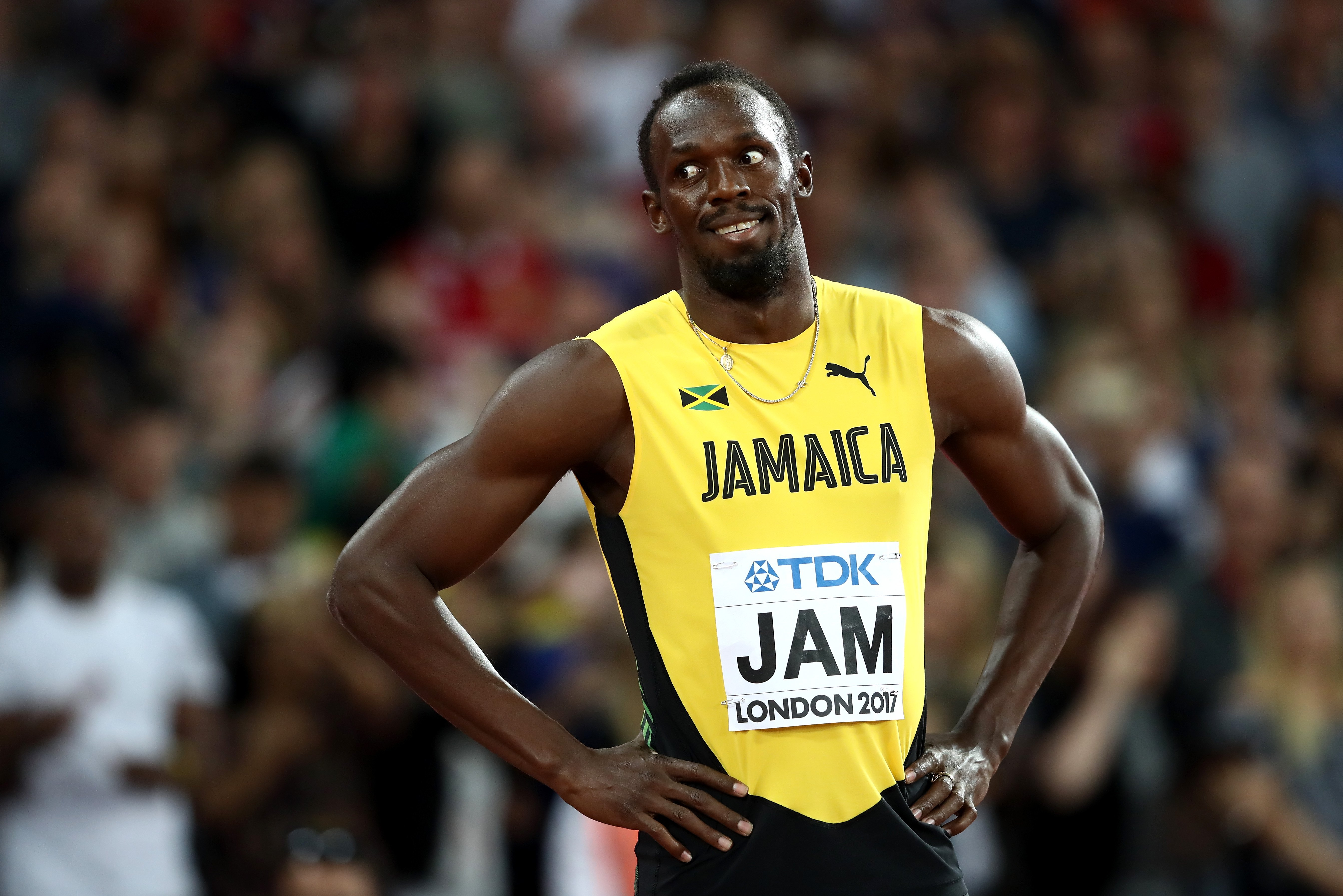 Usain Bolt at the Men's 4x100 Relay final during the 16th IAAF World Athletics Championships on August 12, 2017. | Photo: Getty Images