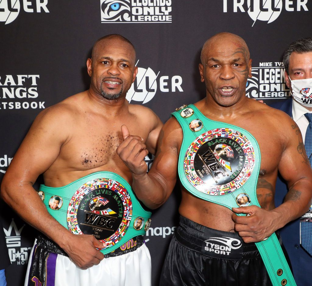 Roy Jones Jr and Mike Tyson after their boxing match presented by Triller at Staples Center in Los Angeles, California | Photo: Joe Scarnici/Getty Images for Triller