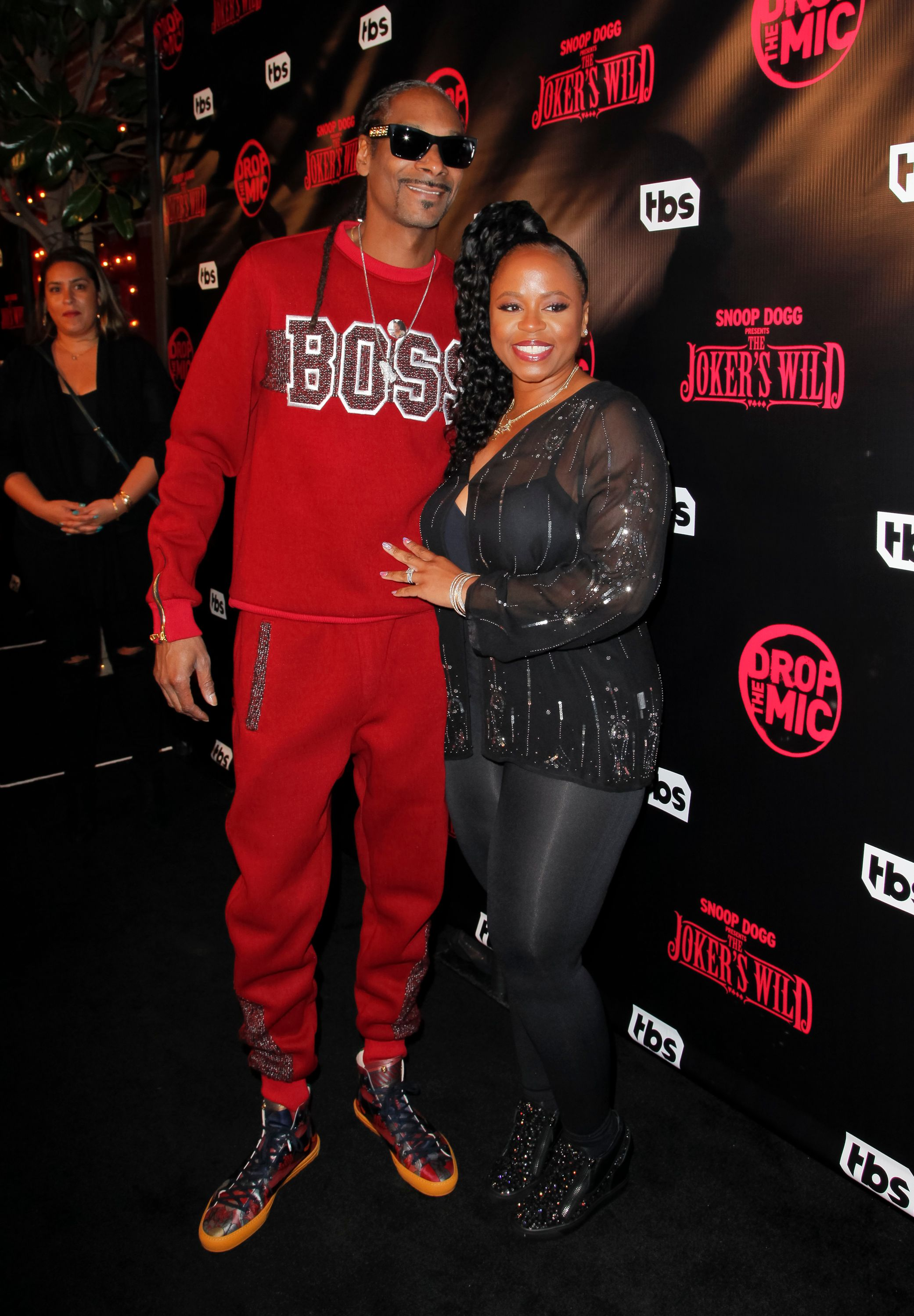 "Snoop Dogg and Shante Broadus at the premiere for TBS's ""Drop The Mic"" and ""The Joker's Wild"" at The Highlight Room on October 11, 2017 