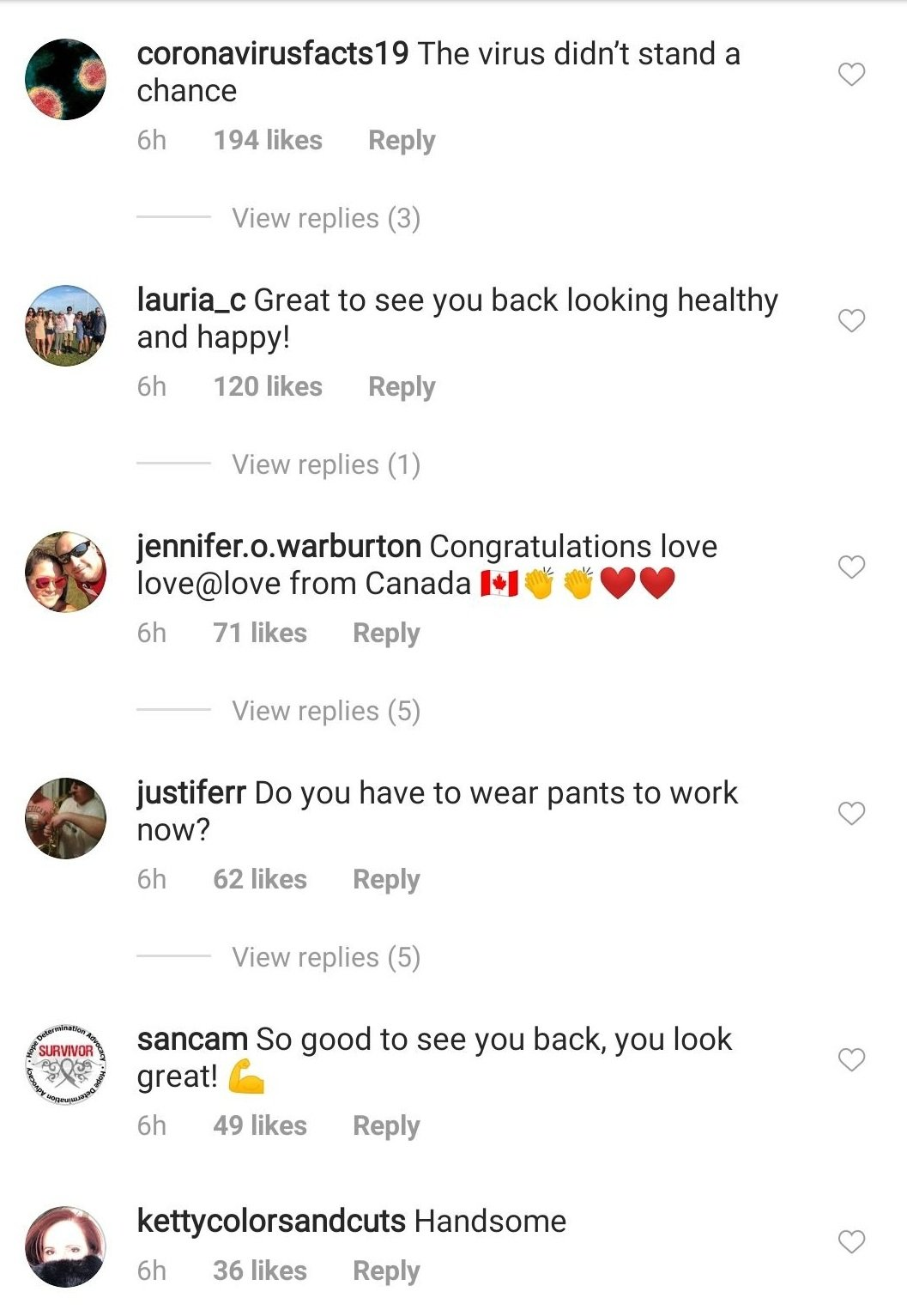 Comments from followers in response to Chris Cuomo returning to work at the studio after recovering from COVID-19. | Source: Instagram/chriscuomo.