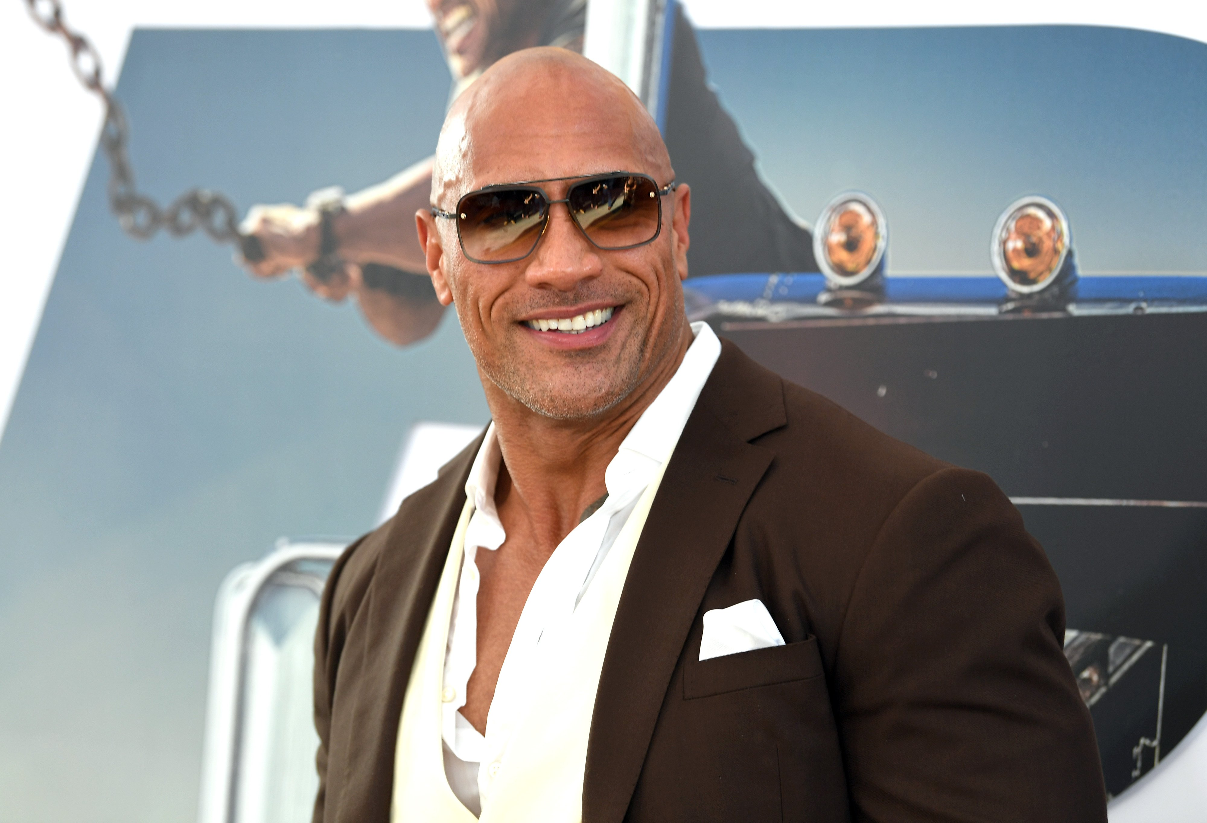 """Dwayne Johnson arrives at the premiere of Universal Pictures' """"Fast & Furious Presents: Hobbs & Shaw"""" at Dolby Theatre on July 13, 2019 in Hollywood, California 