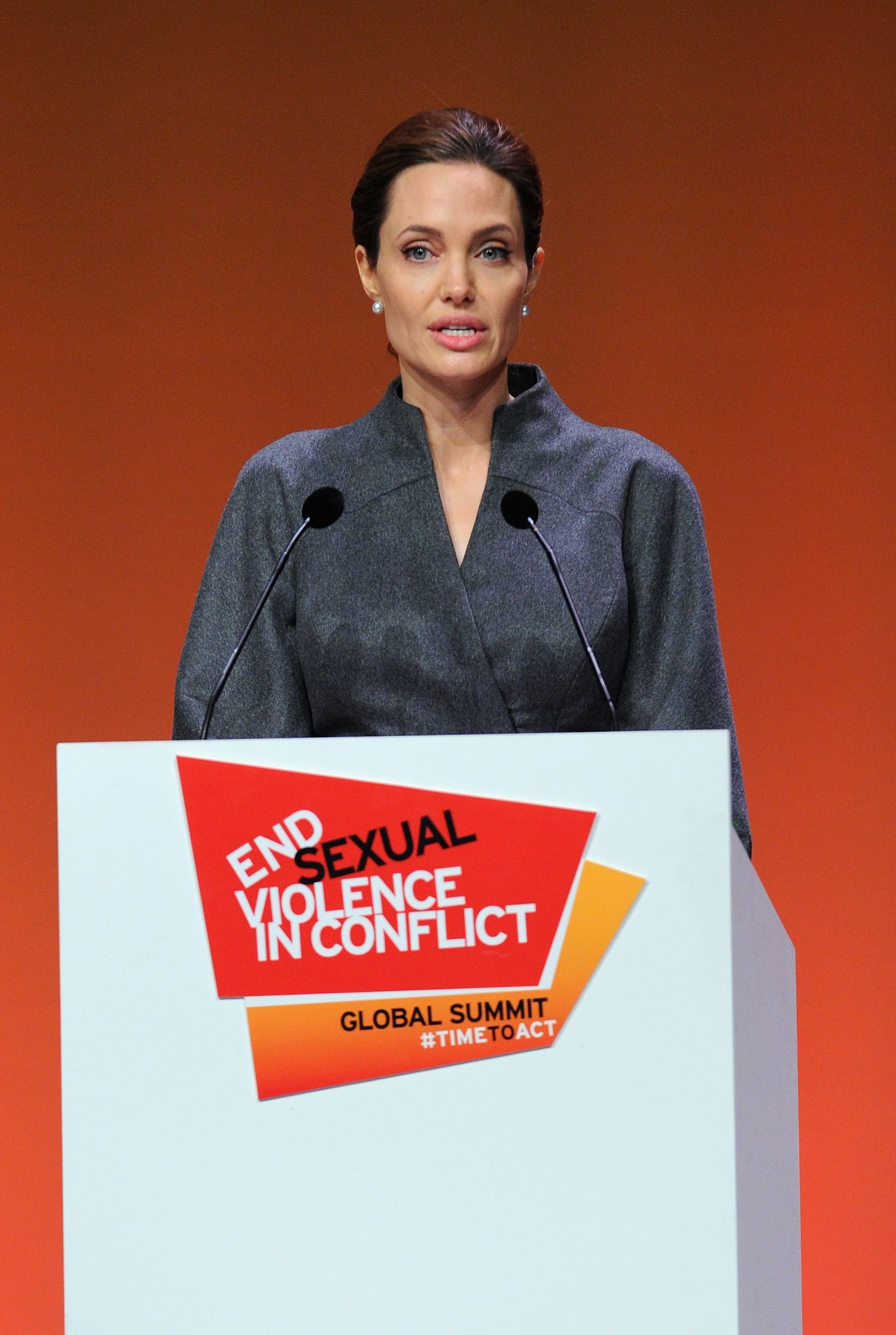 Angelina Jolie at the Global Summit to End Sexual Violence in Conflict in London in 2014 | Source: Getty Images
