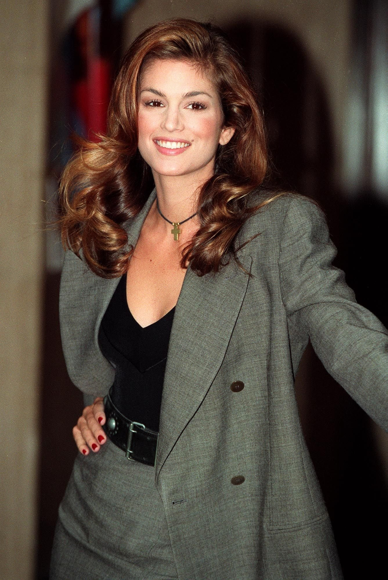 """Cindy Crawford in London for the launch of her keep fit video """"Cindy Crawford: Shape Your Body Workout"""" on November 02, 1992 