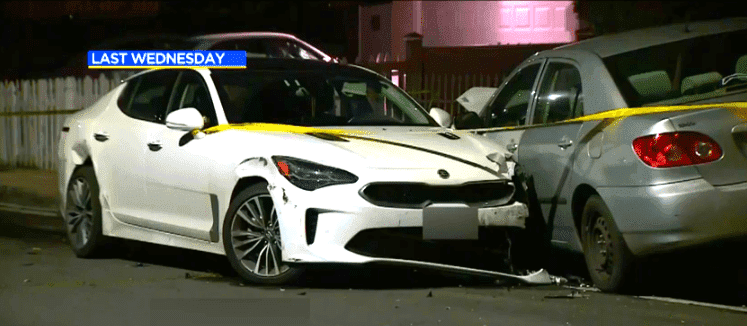 Tanya Nguyen's crashed car left by attackers. | Source: YouTube/CBS Los Angeles