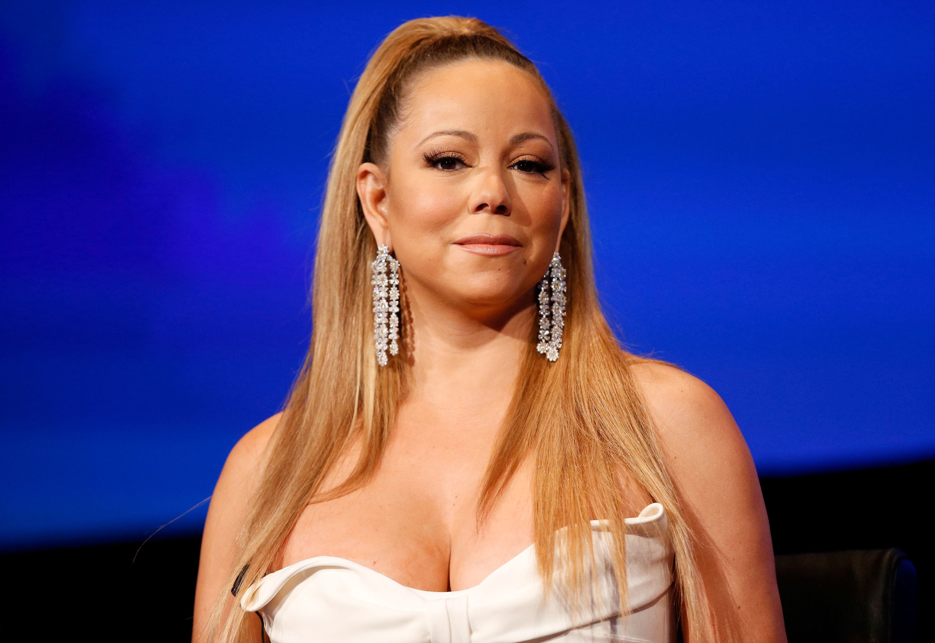 "Mariah Carey speaking during a live Q&A for the season premiere of ""American Idol"" in January 2013. 