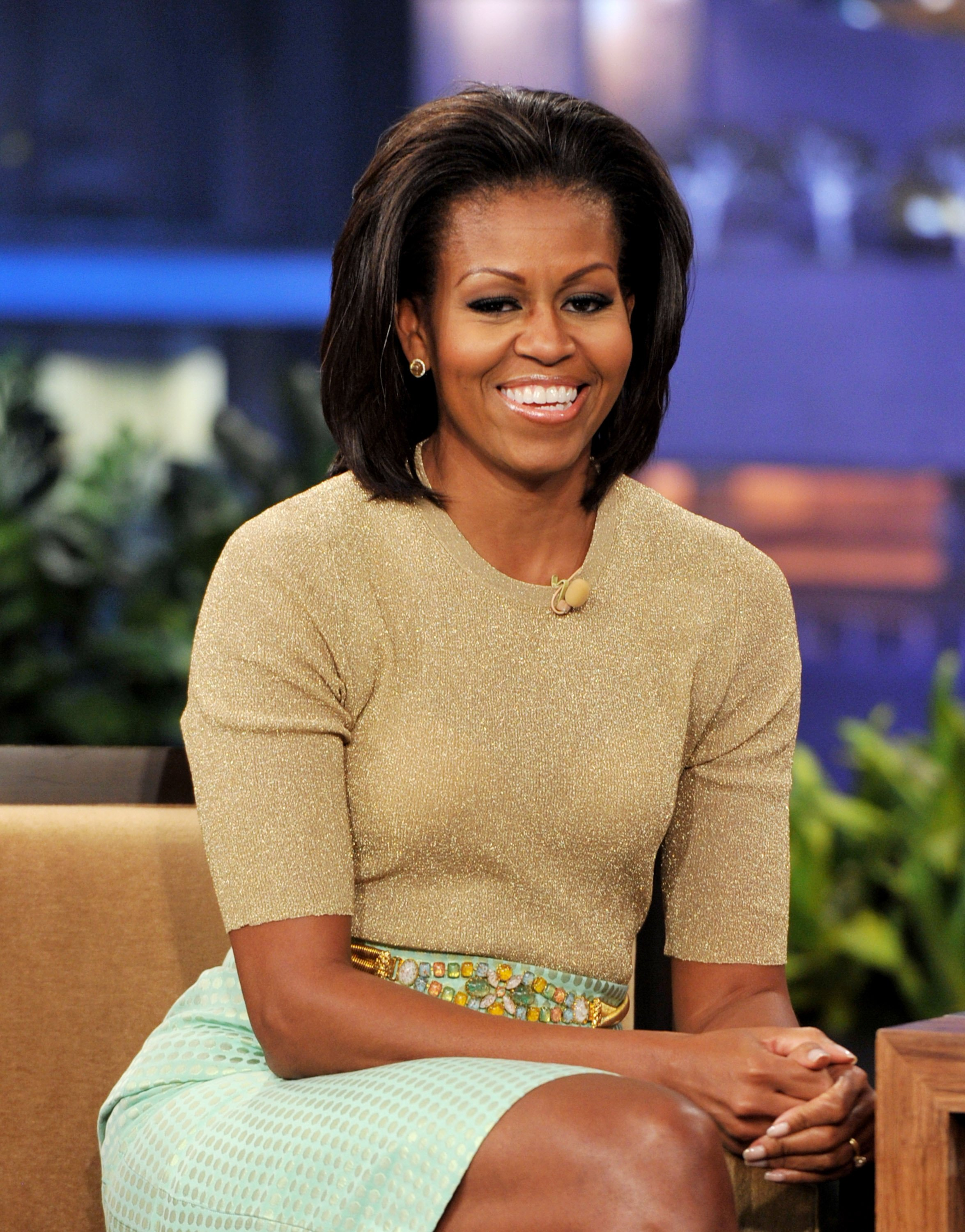 """Michelle Obama on """"The Tonight Show with Jay Leno"""" in January 2012. 