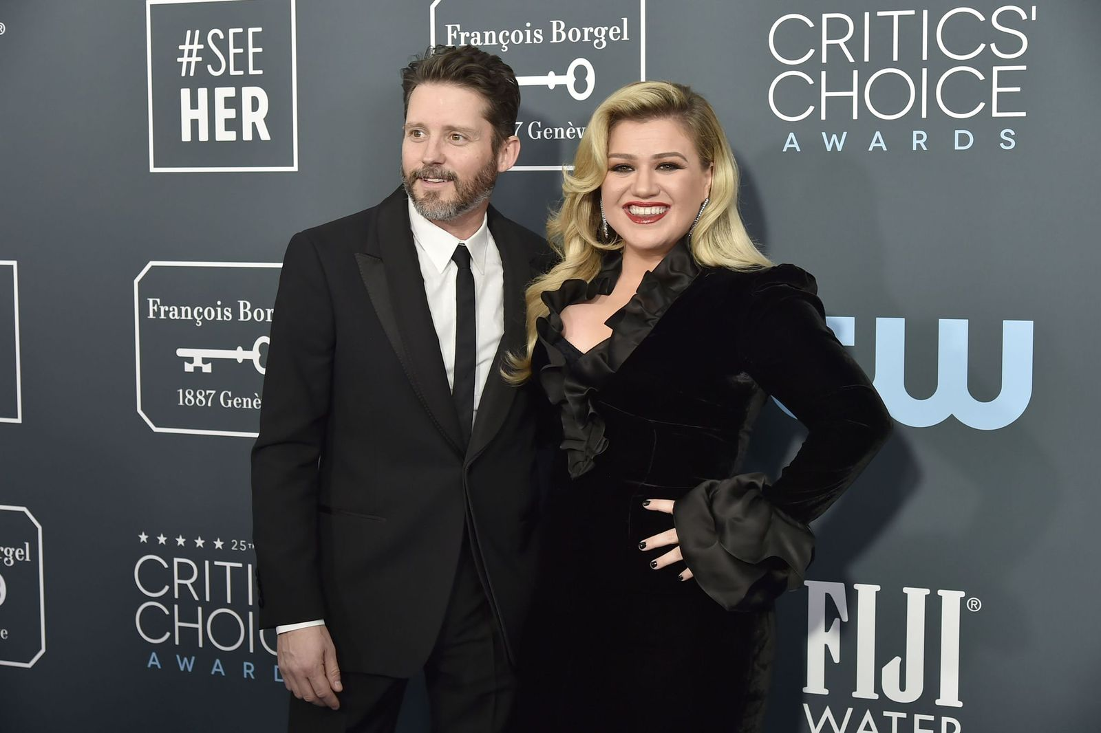 Brandon Blackstock and Kelly Clarkson at the arrivals for the 25th Annual Critics' Choice Awards at Barker Hangar on January 12, 2020 | Photo: Getty Images