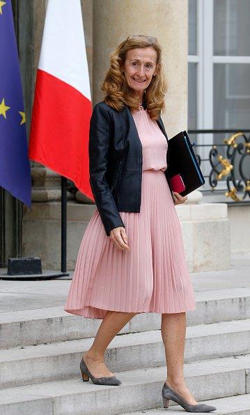 La ministre de la Justice française Nicole Belloubet sort du Palais présidentiel de l'Elysée. | Photo : GettyImage