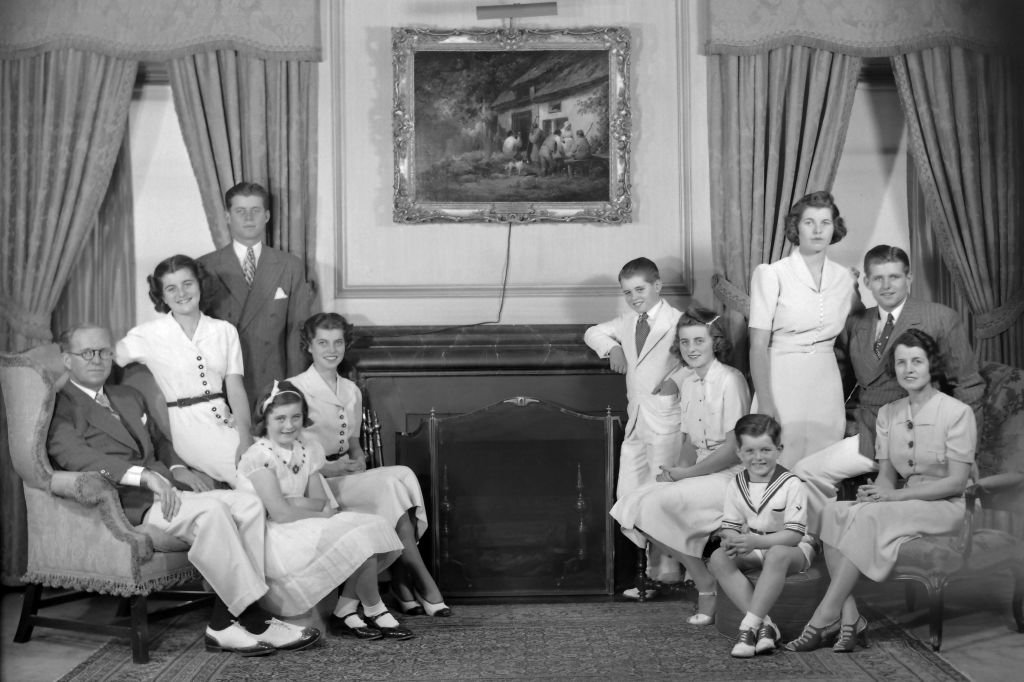 A portrait of the Kennedy family in their living room, Bronxville, New York, 1938.   Photo: Getty Images
