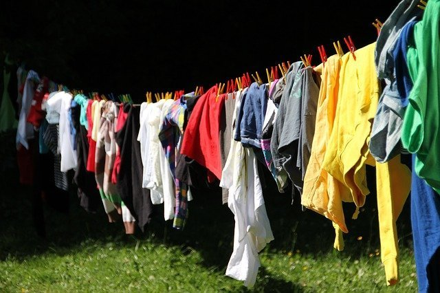 Clothes hanged on a line for drying. | Source: Pixabay
