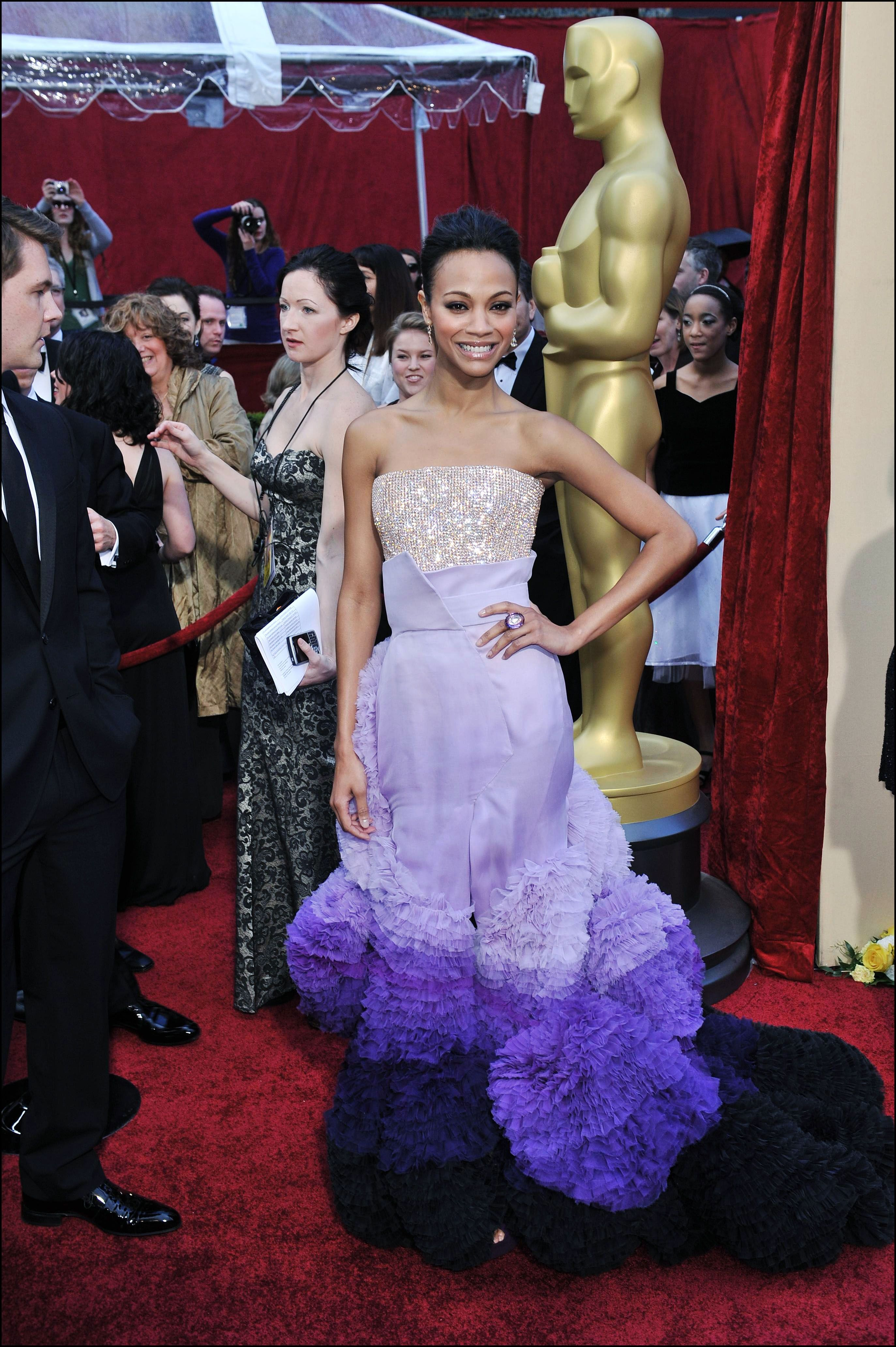 Zoe Saldana arrives at the 82nd Annual Academy Awards at the Kodak Theatre on March 7, 2010 in Hollywood, California. | Source: Getty Images
