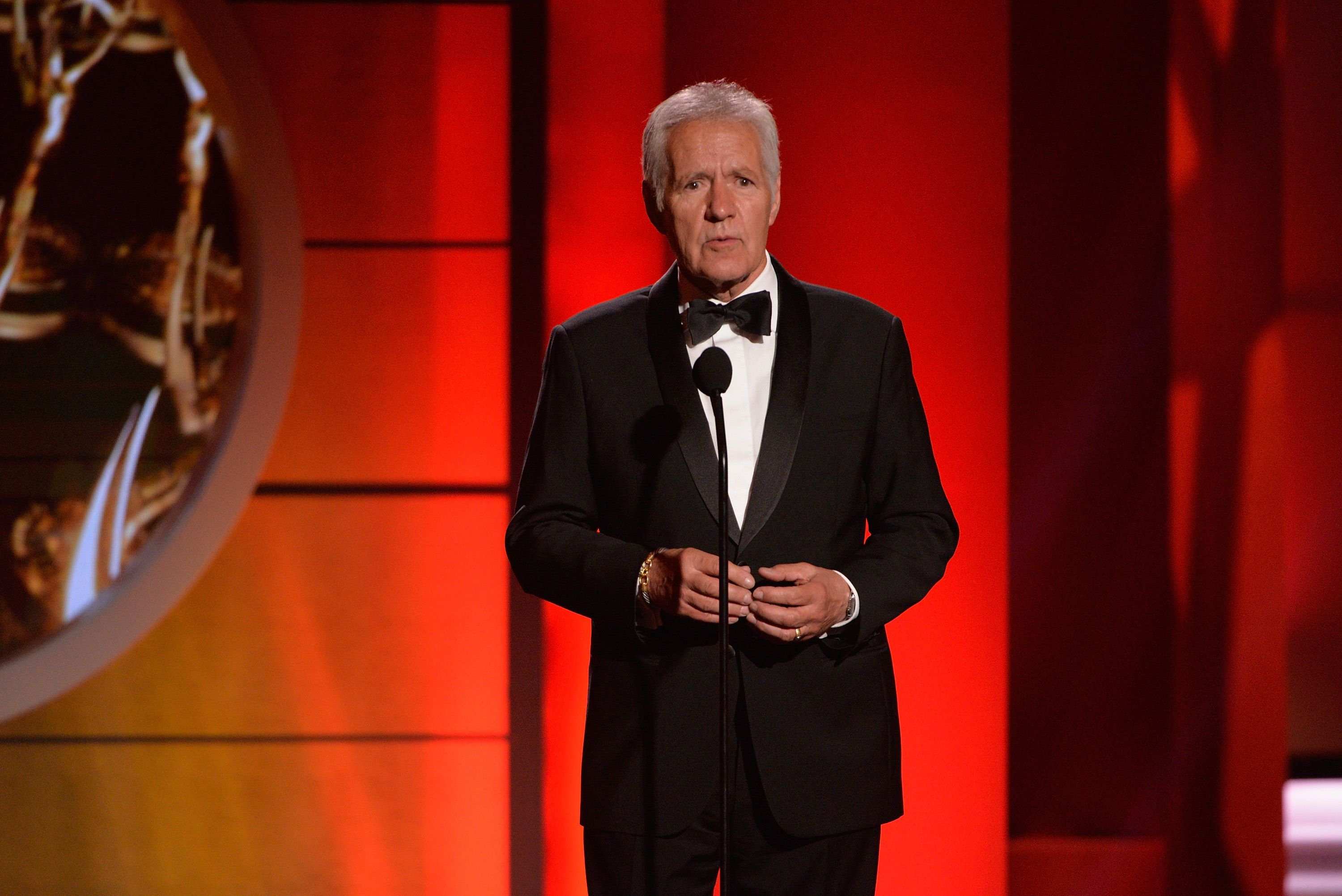 Alex Trebek speaks at the 44th annual Daytime Emmy Awards at Pasadena Civic Auditorium on April 30, 2017   Photo: Getty Images