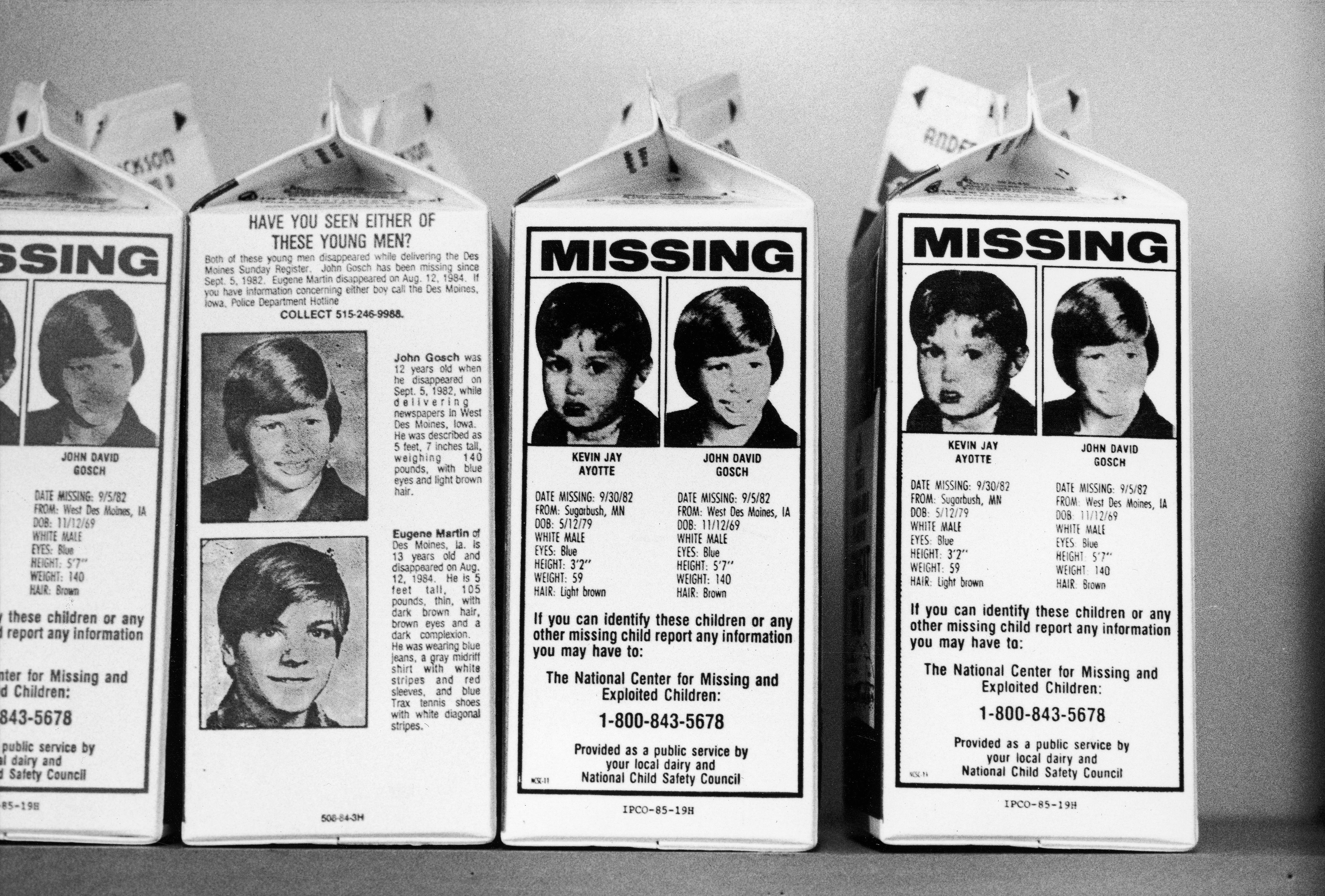 Milk cartons with portraits of missing children Johnny Gosch, Kevin Ayotte & Eugene Martin | Source| Getty Images