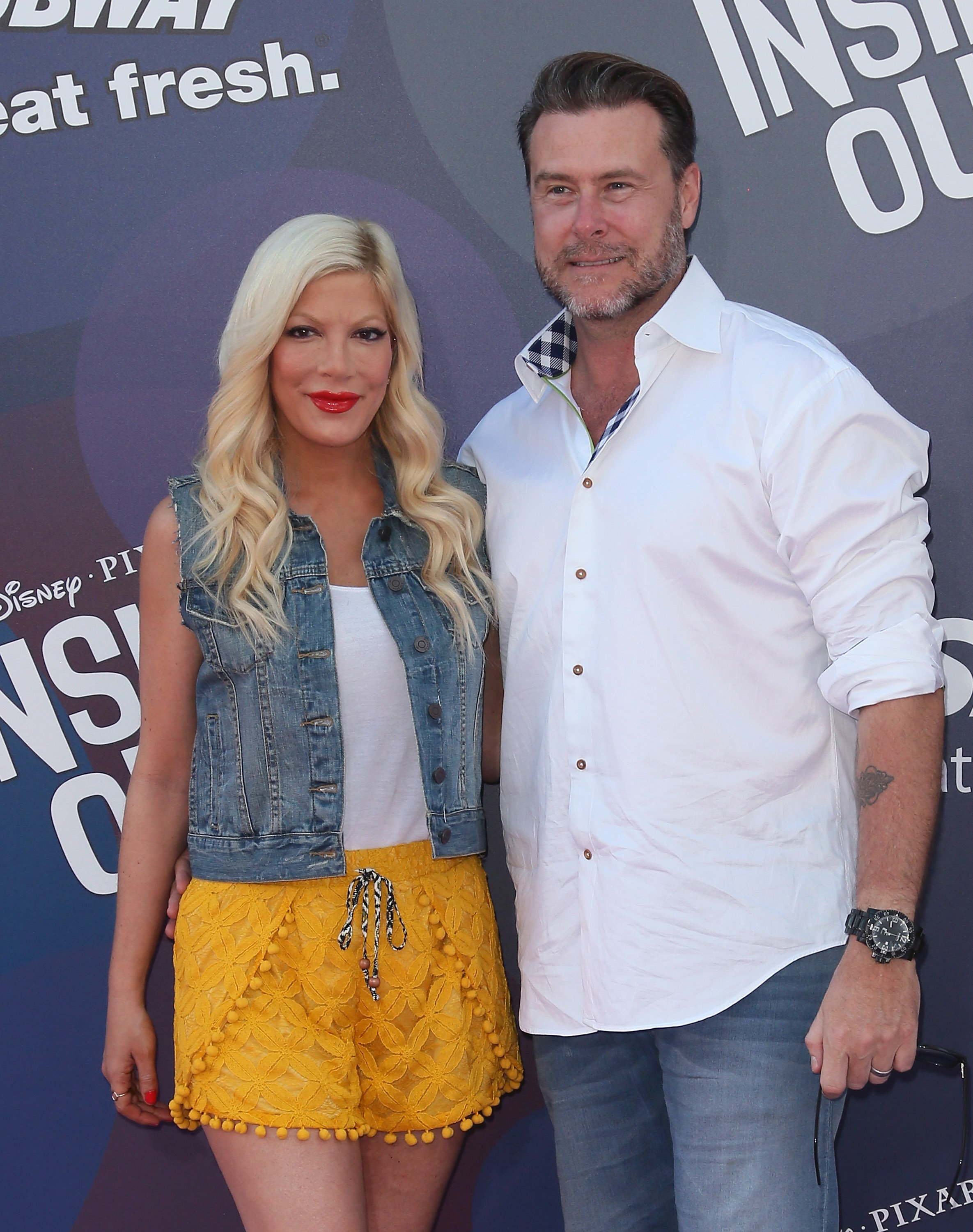 "Tori Spelling and Dean McDermott attend the premiere of ""Inside Out"" in Hollywood, California on June 8, 2015 