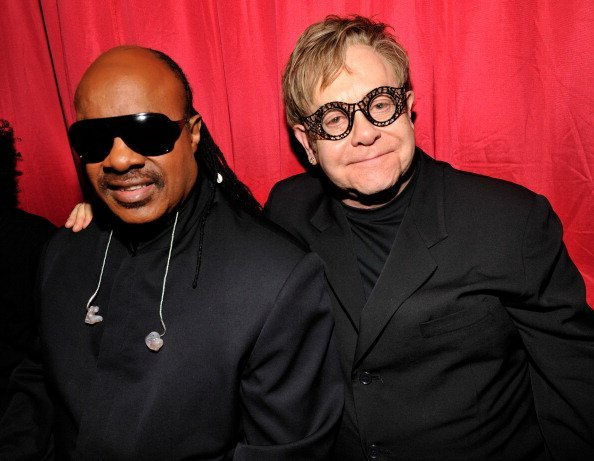 Stevie Wonder and Elton John attends the amfAR New York Gala to kick off Fall 2011 Fashion Week at Cipriani Wall Street | Photo:  Getty Images