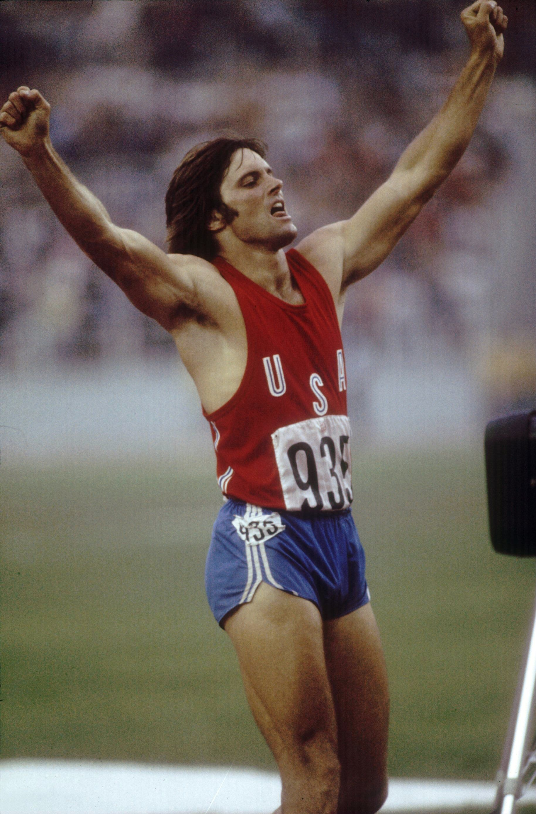 Bruce Jenner of the USA celebrates during his record setting performance in the decathlon. | Source: Getty Images