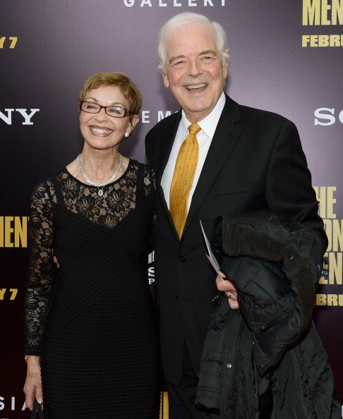 "Nick Clooney (R) and Nina Bruce Warren attend ""The Monuments Men"" premiere at Ziegfeld Theater on February 4, 2014, in New York City, New York. 