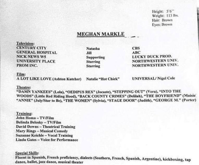 Le CV d'actrice de Meghan Markle | Photo : TMZ