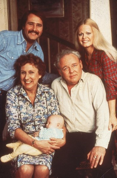 """Portrait of the cast of the television show """"All in the Family,"""" circa 1976. 