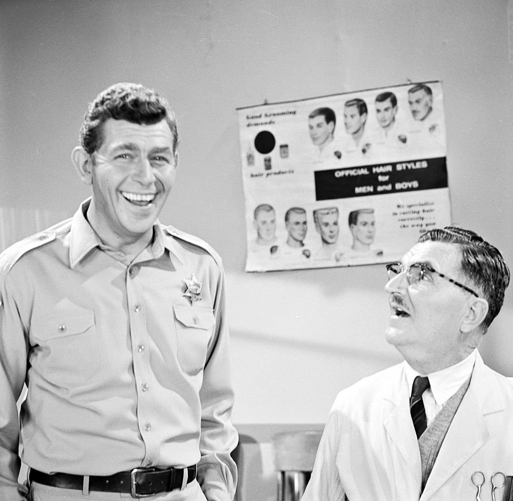 """Veteran actor Andy Griffith pictured with co-star Howard McNear during """"The Andy Griffith Show"""" in 1966. 