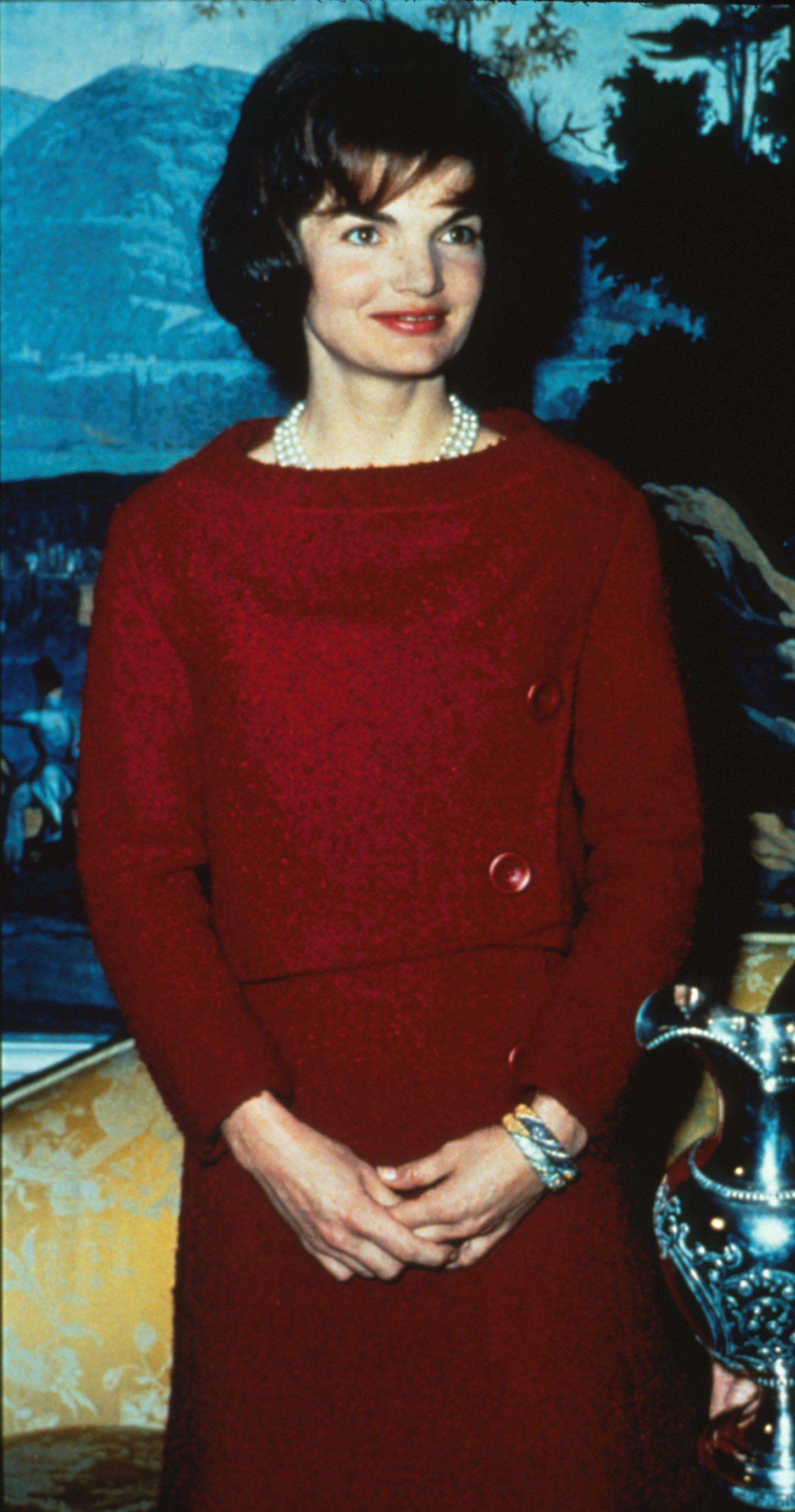 acqueline Kennedy Wears A Chez Ninon Two-Piece Day Dress February 14, 1962 During A Nationally Televised Valentine's Day Tour Of The White House In Washington. | Source: Getty Images