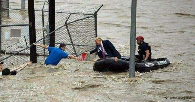 Fake photo of President Trump assisting flood survivors is causing a stir on the internet