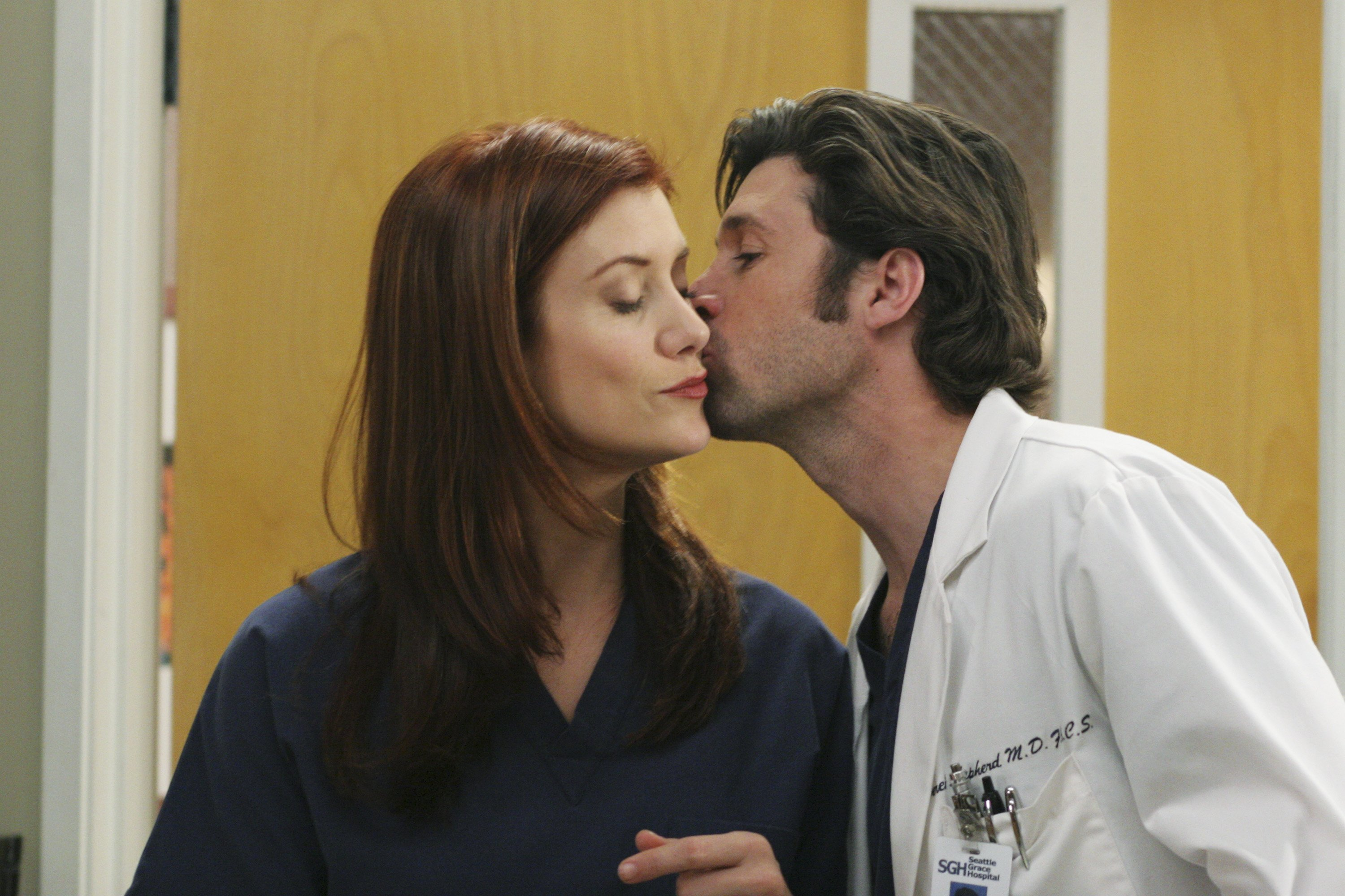 "A snapshot of Kate Walsh and Patrick Dempsey from ""Grey's Anatomy."" 