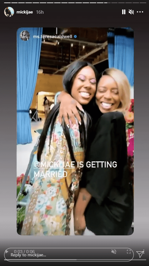 A photo of Jasmine Jordan and Teresa Caldwell hugging each other and smiling.   Photo: Instagram/mickijae