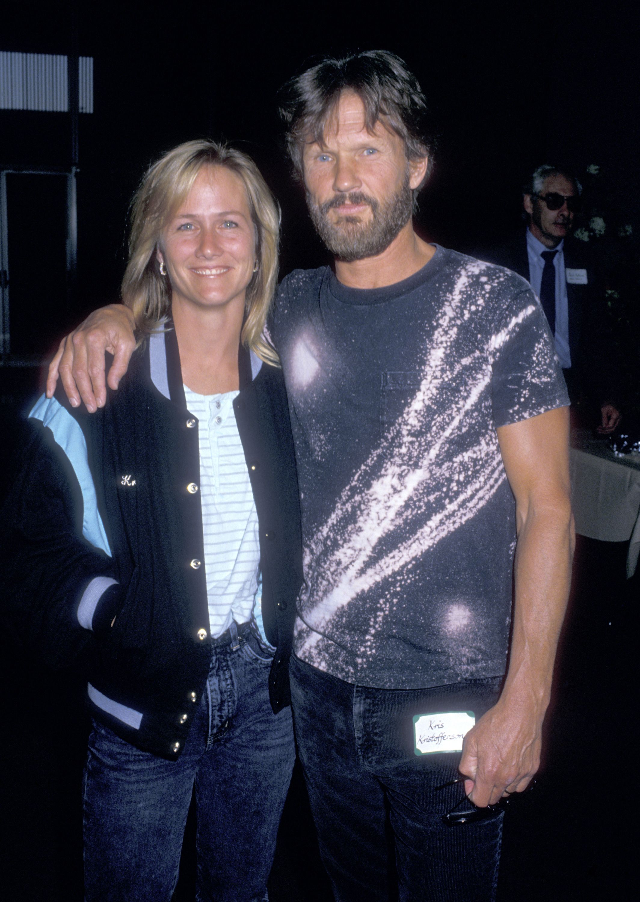 "Kris Kristofferson and Lisa Meyers during the ""Coverup: Behind the Iran Contra Affair"" West Hollywood Premiere on June 24, 1988 at DGA Theatre in West Hollywood, California. 