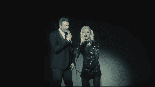"Gwen Stefani and Blake Shelton sing ""Nobody But You."" 