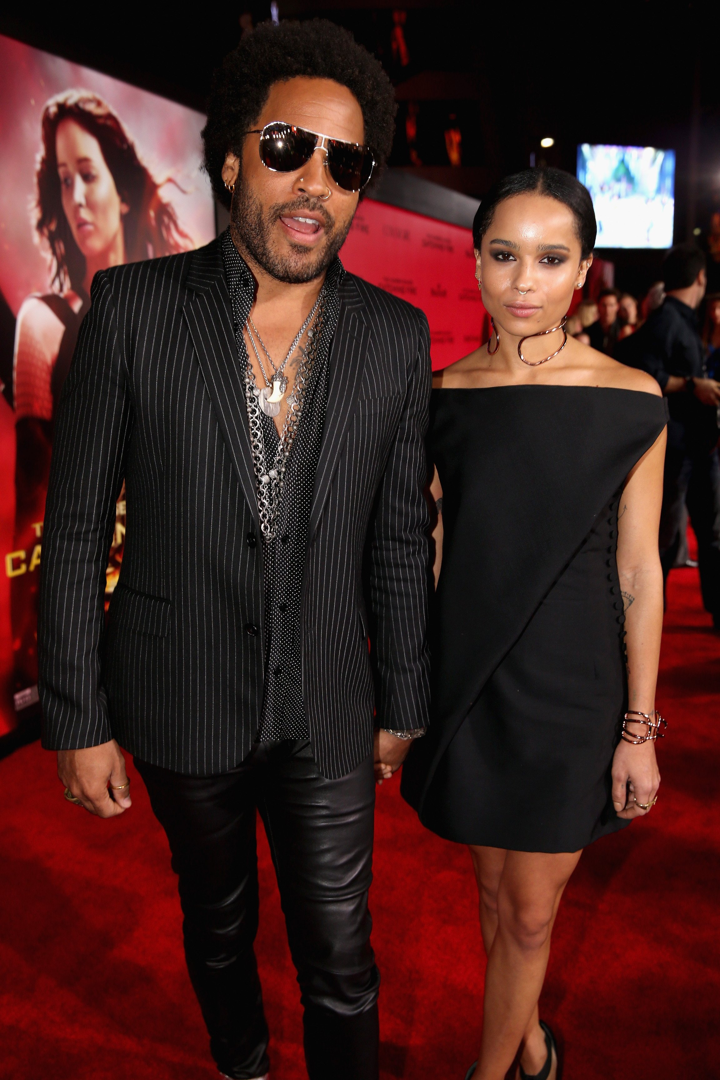 "Lenny Kravitz and Zoe Kravitz attend premiere of Lionsgate's ""The Hunger Games: Catching Fire"" on November 18, 2013, in Los Angeles, California. 