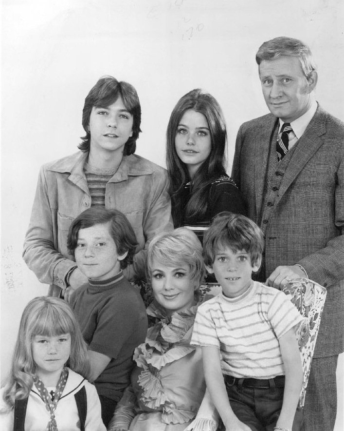 """Publicity photo of the cast of comedy series """"The Partridge Family,"""" circa 1970 