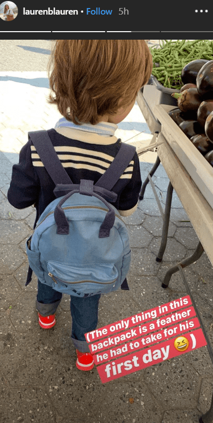Lauren Bush's three-year-old son James carrying a backpack as he gets ready for school | Photo: instagram.com/laurenblauren