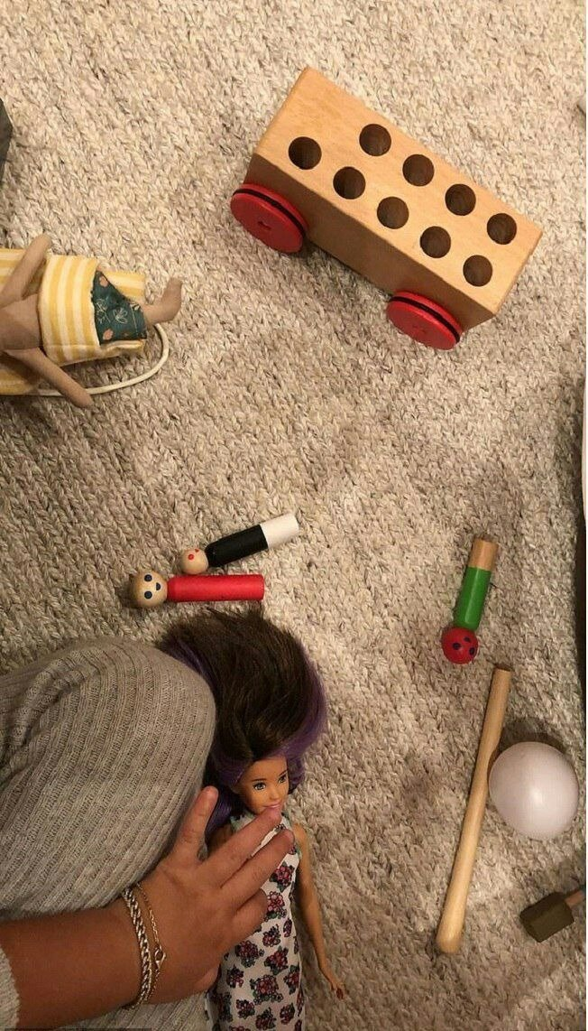 A picture of Stormi Webster playing with her doll from Kylie Jenner's Instagram story. | Source: Instagram/kyliejenner