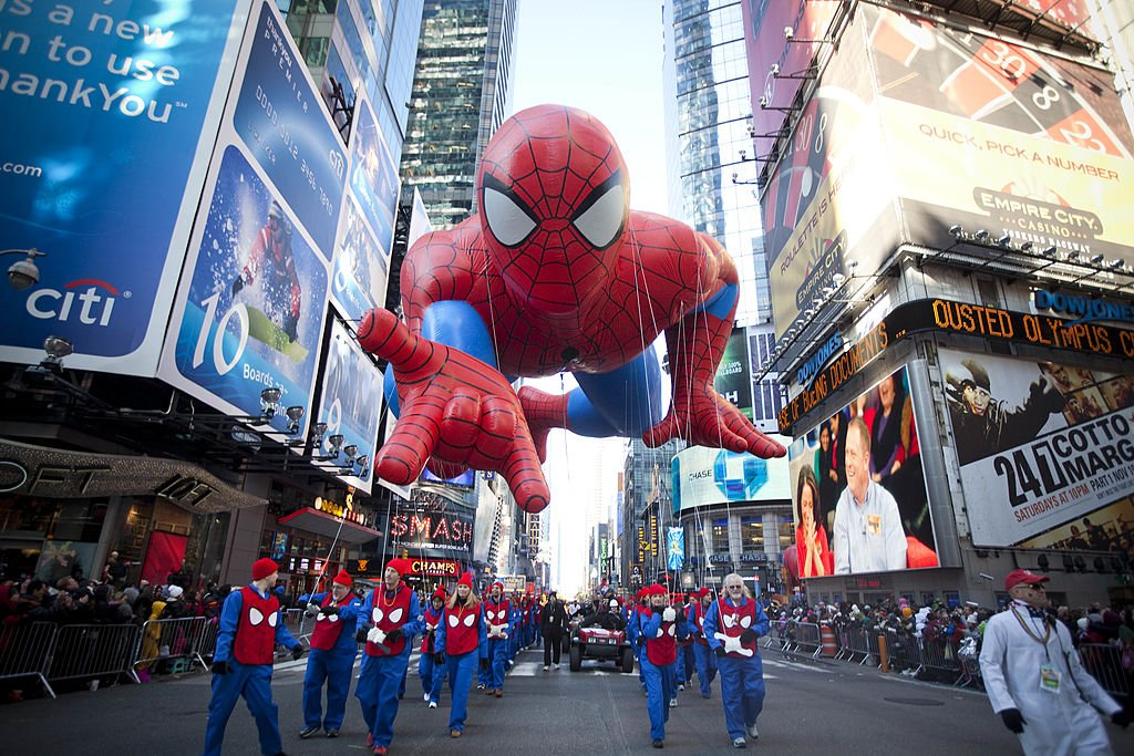 An inflated Marvel hero Spiderman making its way through the Times Square in New York City in 2011. | Photo: Getty Images