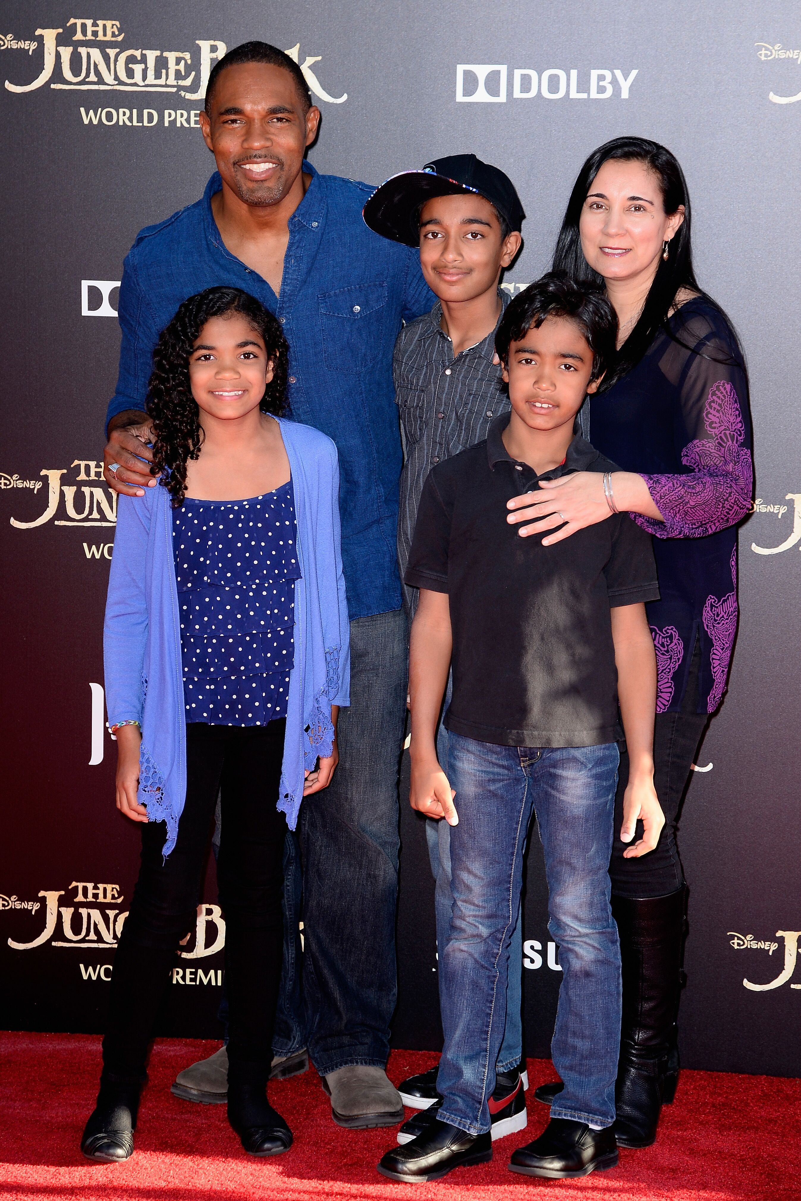 Jason George with wife Vandana Khanna and children Jasmine George, Arun George, Nikhil George, at the El Capitan Theatre on April 4, 2016 in Hollywood, California. | Source: Getty Images