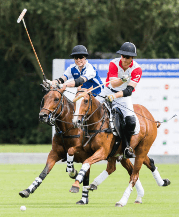 Prince William and Prince Harry compete against each other during The King Power Royal Charity Polo Day, at Billingbear Polo Club, on July 10, 2019, in Wokingham, England | Source: Getty Images (Photo by Samir Hussein/WireImage)