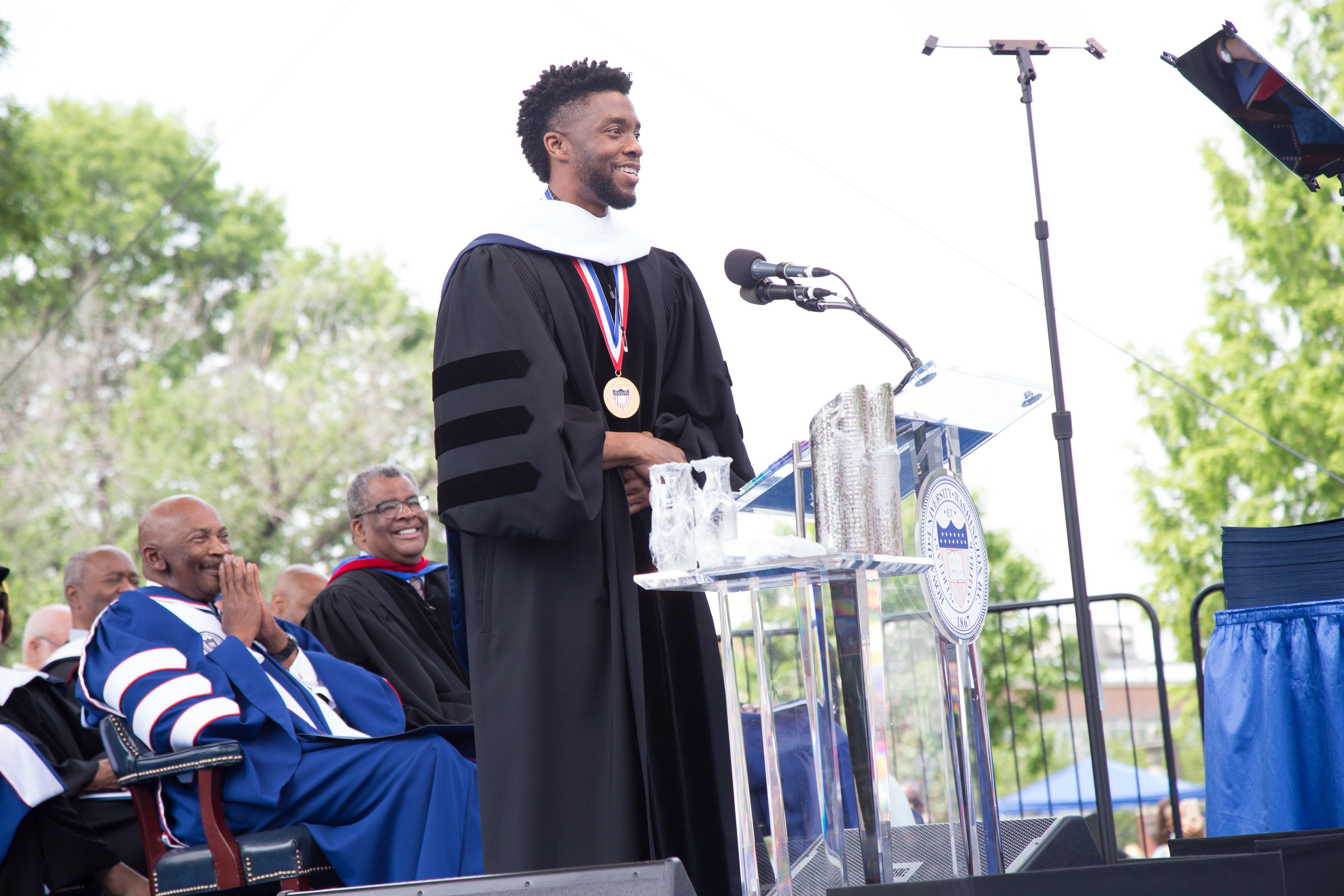 Chadwick Boseman, a Howard alumnus, receiving an Honorary Doctorate Degree at the 2018 Howard University Commencement Ceremony at Howard University in Washington, DC | Photo: Brian Stukes/Getty Images