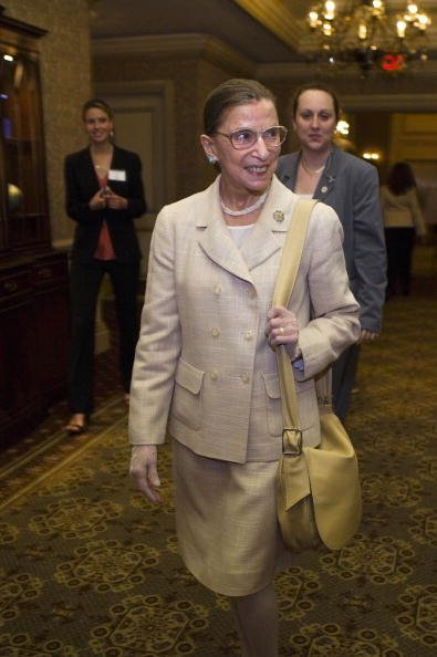 U.S. Supreme Court Justice Ruth Bader Ginsburg arrives for a dinner to honor Michelle Bachelet, Chile's first female president May 8, 2006, in Washington, DC. | Source: Getty Images.