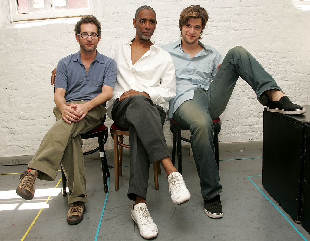 """Veteran Thomas Byrd shares a picture with Director Jonathan Silverstein and Shane McRae for the 2006 theatre show """"Red Herring"""" in 2006 in New York City. 