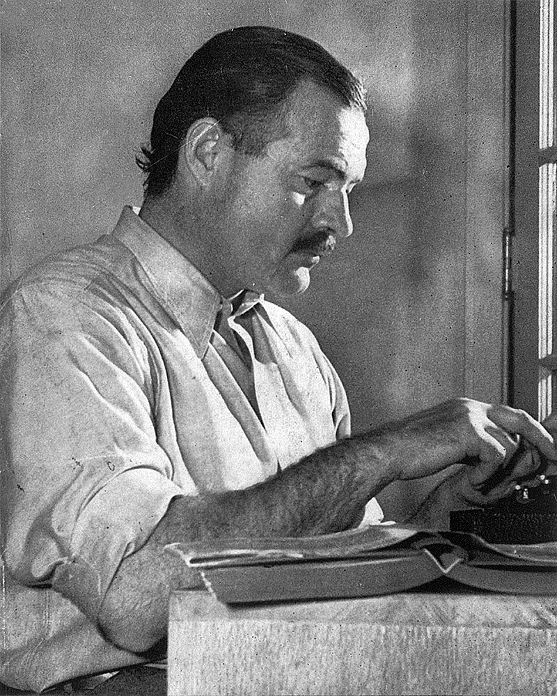 """Ernest Hemingway working on his book """"For Whom the Bell Tolls"""" in Idaho, in 1939 