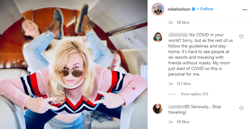 Instagram users comment on Rebel Wilson's picture taken during a flight on a private jet on December 23, 2020. | Source: Instagram/rebelwilson.
